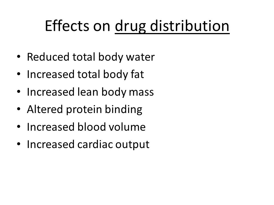 Effects on drug distribution