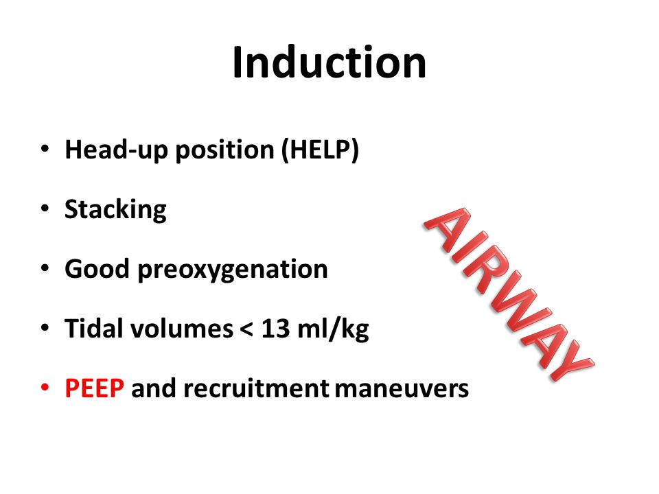 AIRWAY Induction Head-up position (HELP) Stacking Good preoxygenation