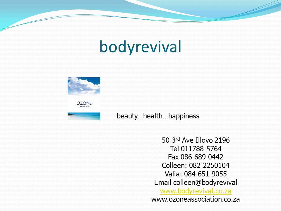 bodyrevival beauty…health…happiness 50 3rd Ave Illovo 2196