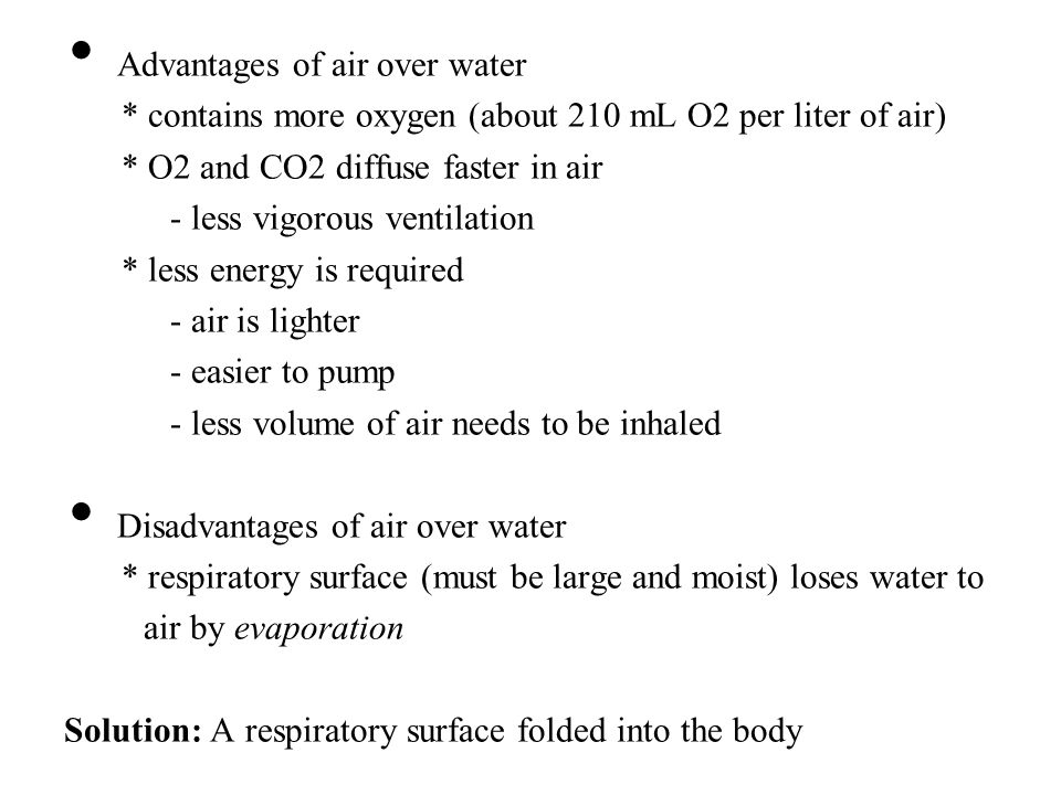 Advantages of air over water