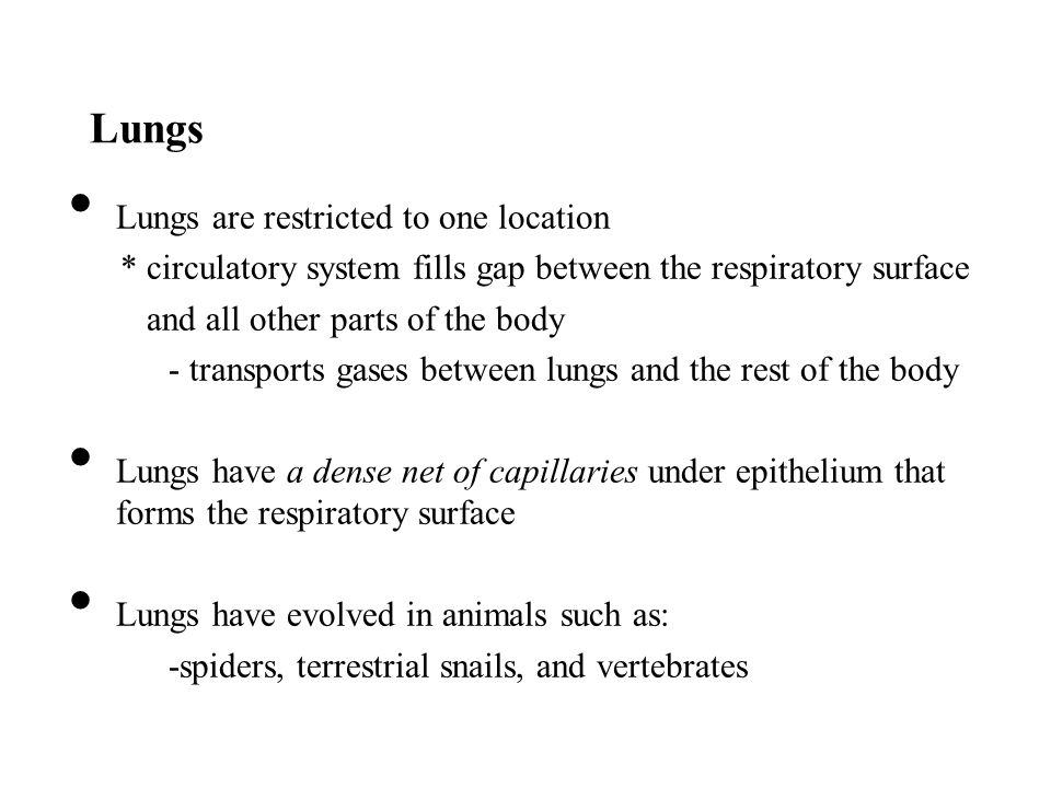 Lungs Lungs are restricted to one location