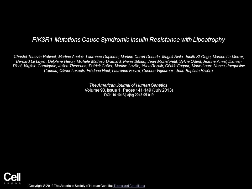 PIK3R1 Mutations Cause Syndromic Insulin Resistance with Lipoatrophy