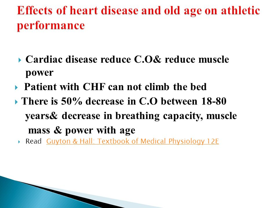 Effects of heart disease and old age on athletic performance