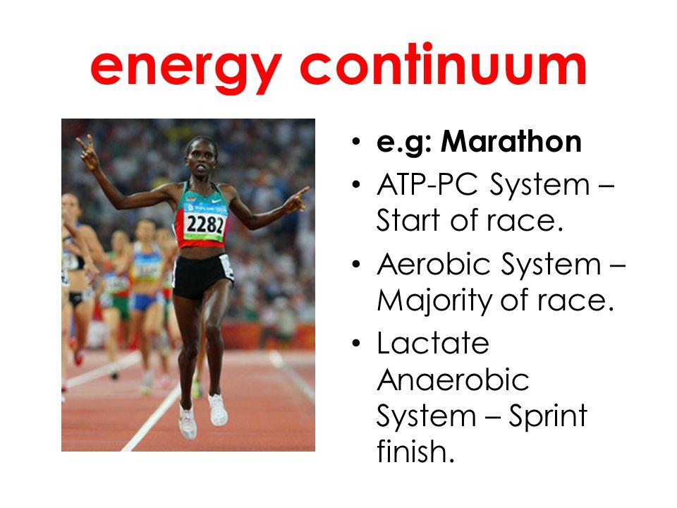 energy continuum e.g: Marathon ATP-PC System – Start of race.