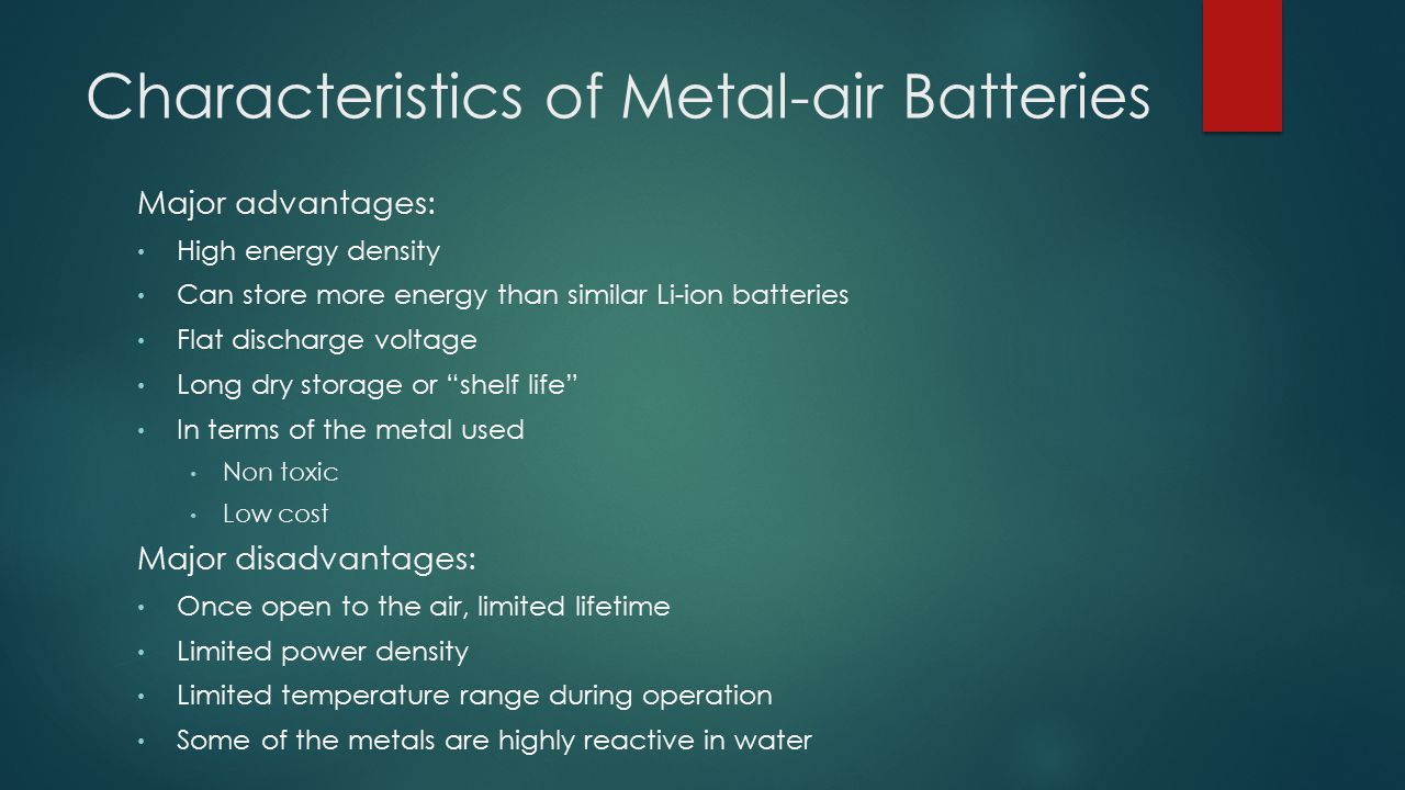 Characteristics of Metal-air Batteries