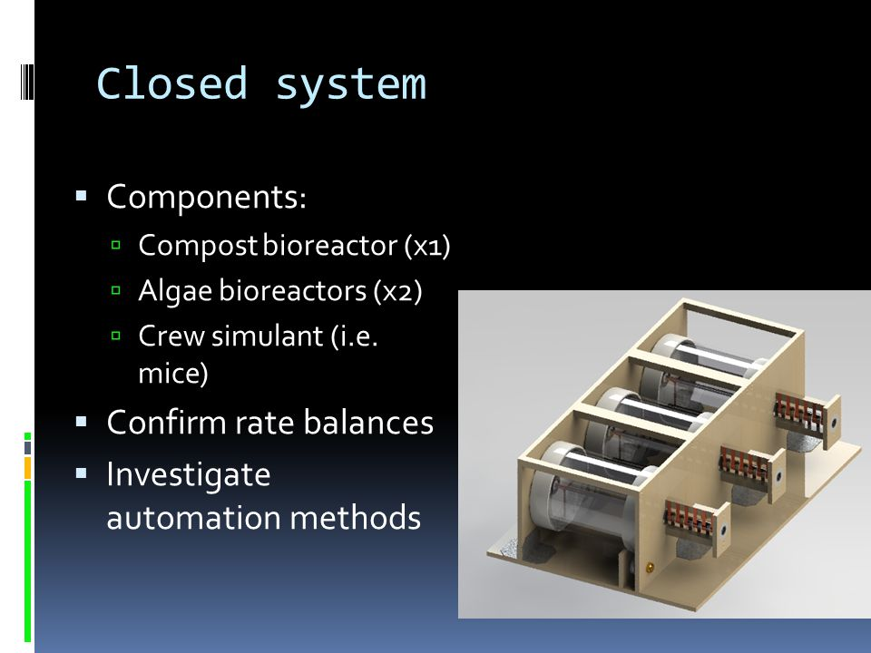 Closed system Components: Confirm rate balances
