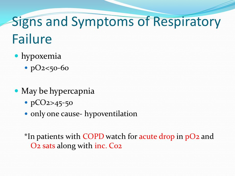 Signs and Symptoms of Respiratory Failure