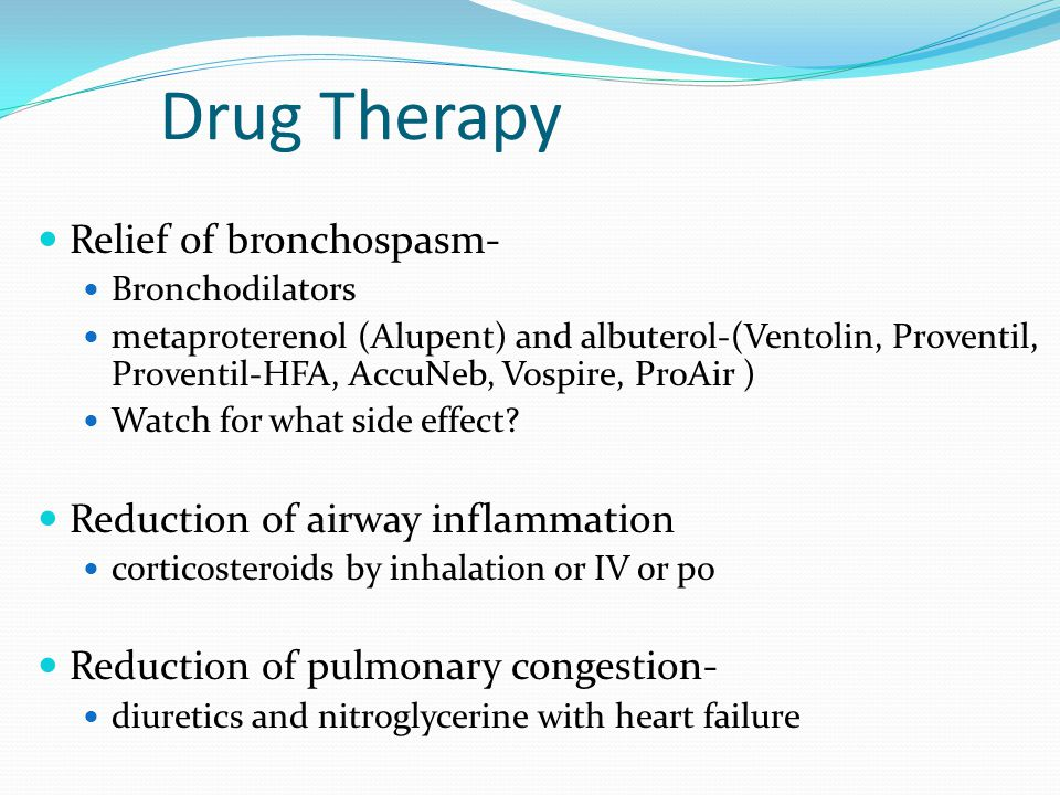 Drug Therapy Relief of bronchospasm- Reduction of airway inflammation
