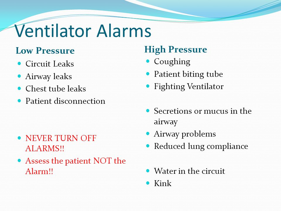 Ventilator Alarms High Pressure Low Pressure Coughing Circuit Leaks