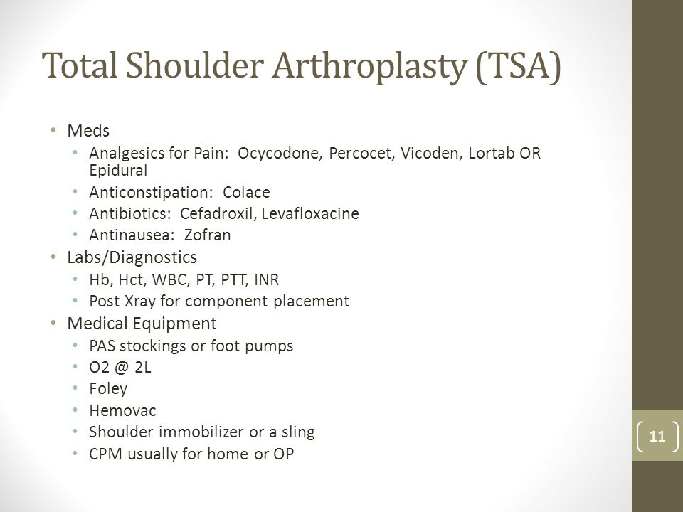 Total Shoulder Arthroplasty (TSA)