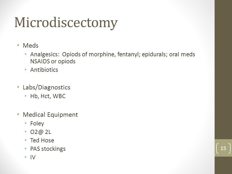 Microdiscectomy Meds Labs/Diagnostics Medical Equipment