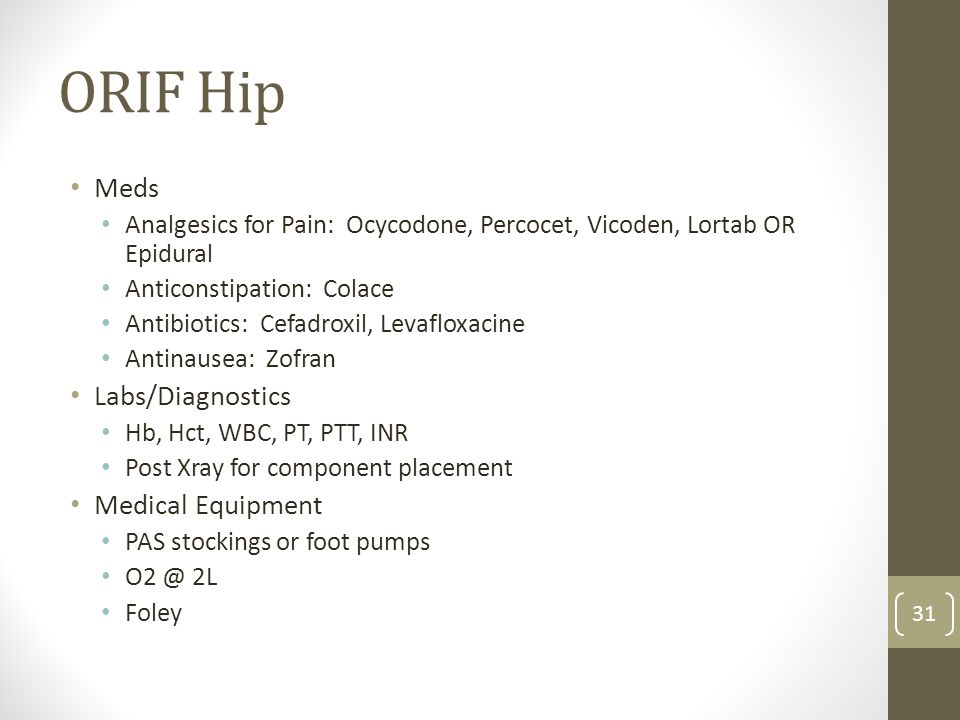 ORIF Hip Meds Labs/Diagnostics Medical Equipment