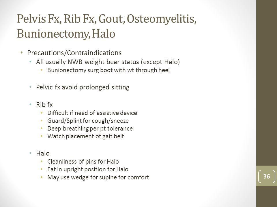Pelvis Fx, Rib Fx, Gout, Osteomyelitis, Bunionectomy, Halo