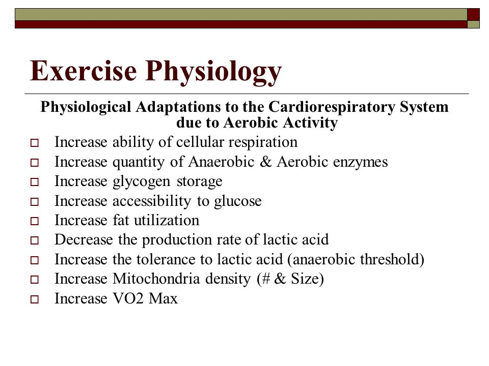 Exercise Physiology Physiological Adaptations to the Cardiorespiratory System due to Aerobic Activity.