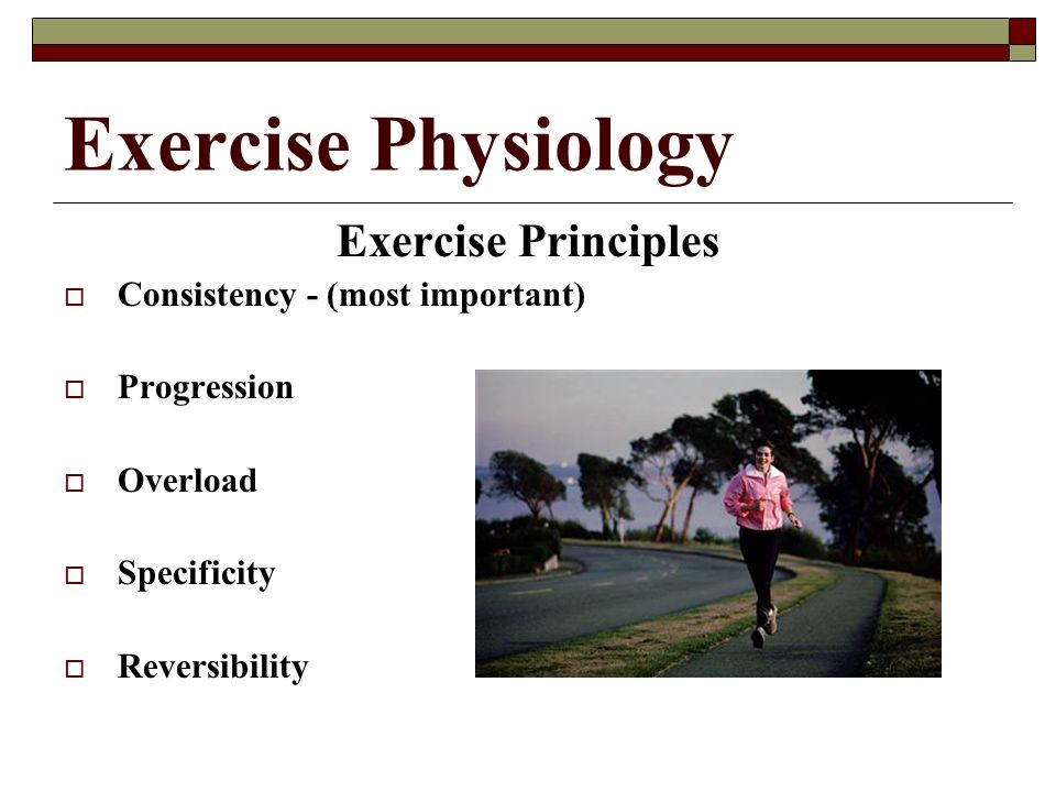 Exercise Physiology Exercise Principles Consistency - (most important)