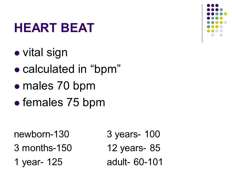 HEART BEAT vital sign calculated in bpm males 70 bpm females 75 bpm