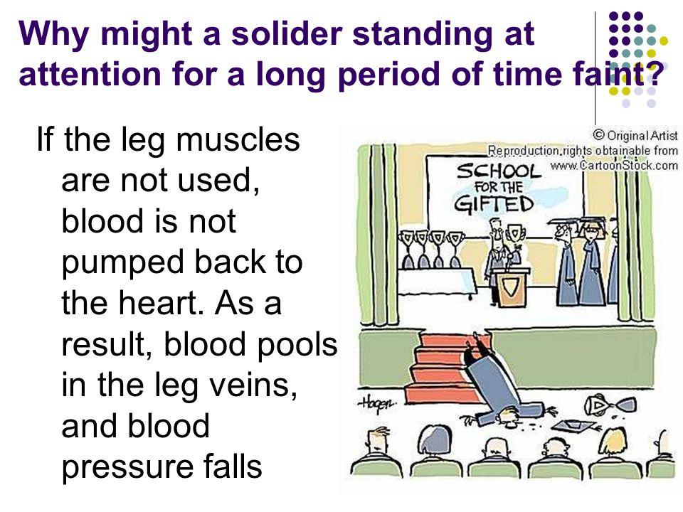 Why might a solider standing at attention for a long period of time faint