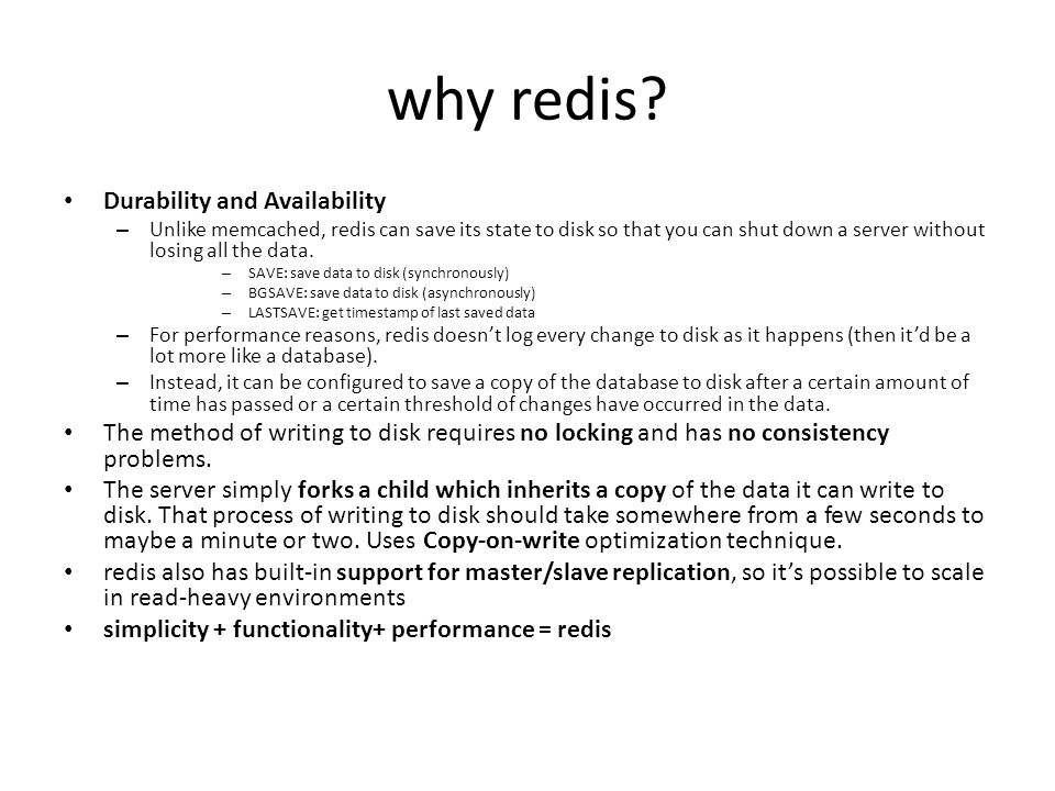 why redis Durability and Availability