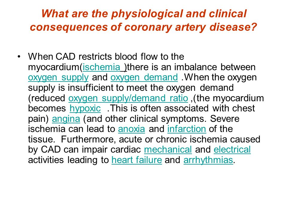 What are the physiological and clinical consequences of coronary artery disease