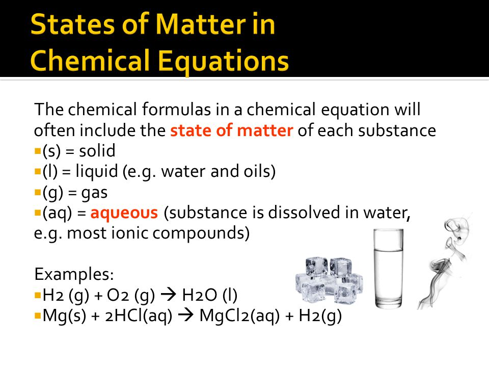 States of Matter in Chemical Equations