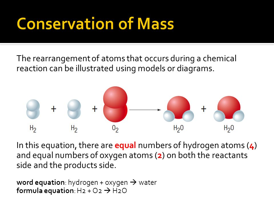Conservation of Mass The rearrangement of atoms that occurs during a chemical reaction can be illustrated using models or diagrams.