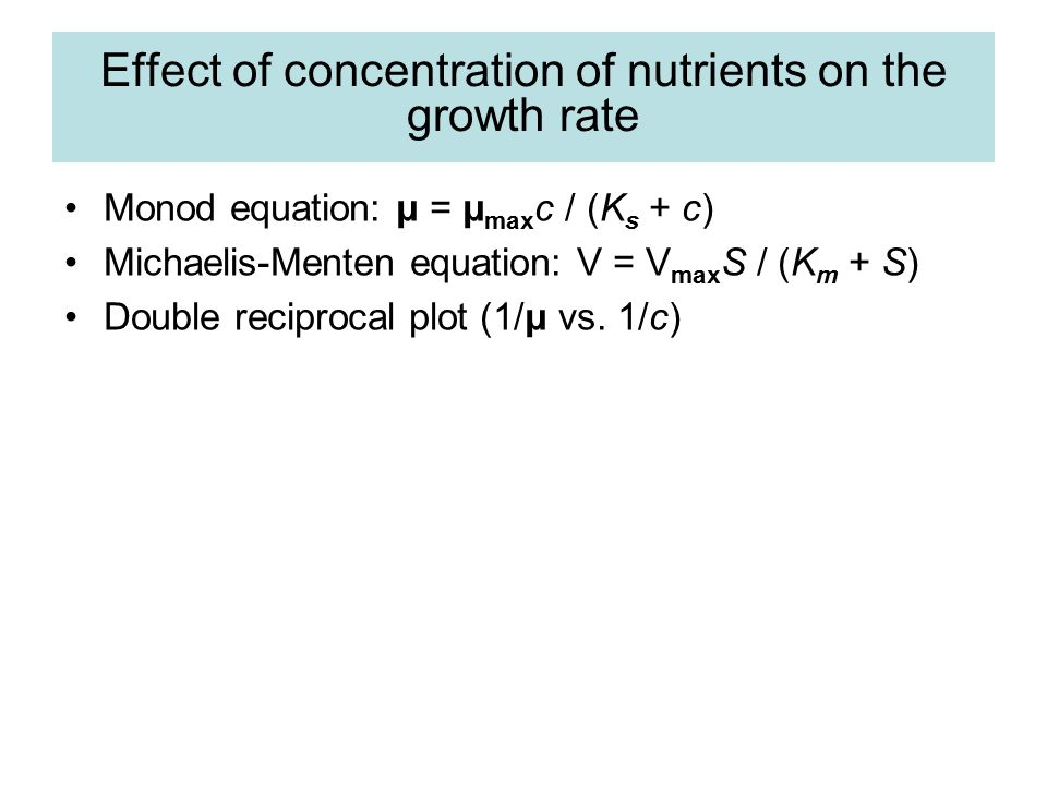 Effect of concentration of nutrients on the growth rate