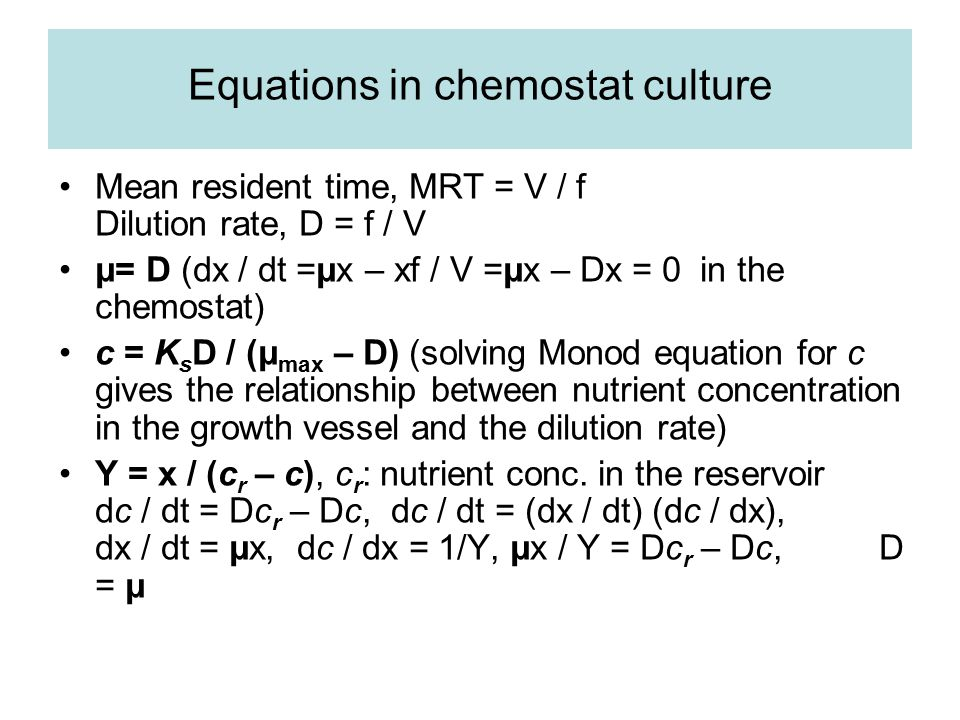 Equations in chemostat culture