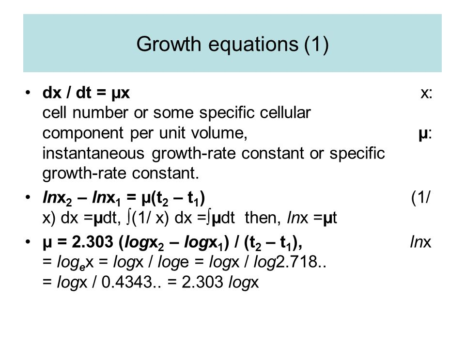 Growth equations (1)