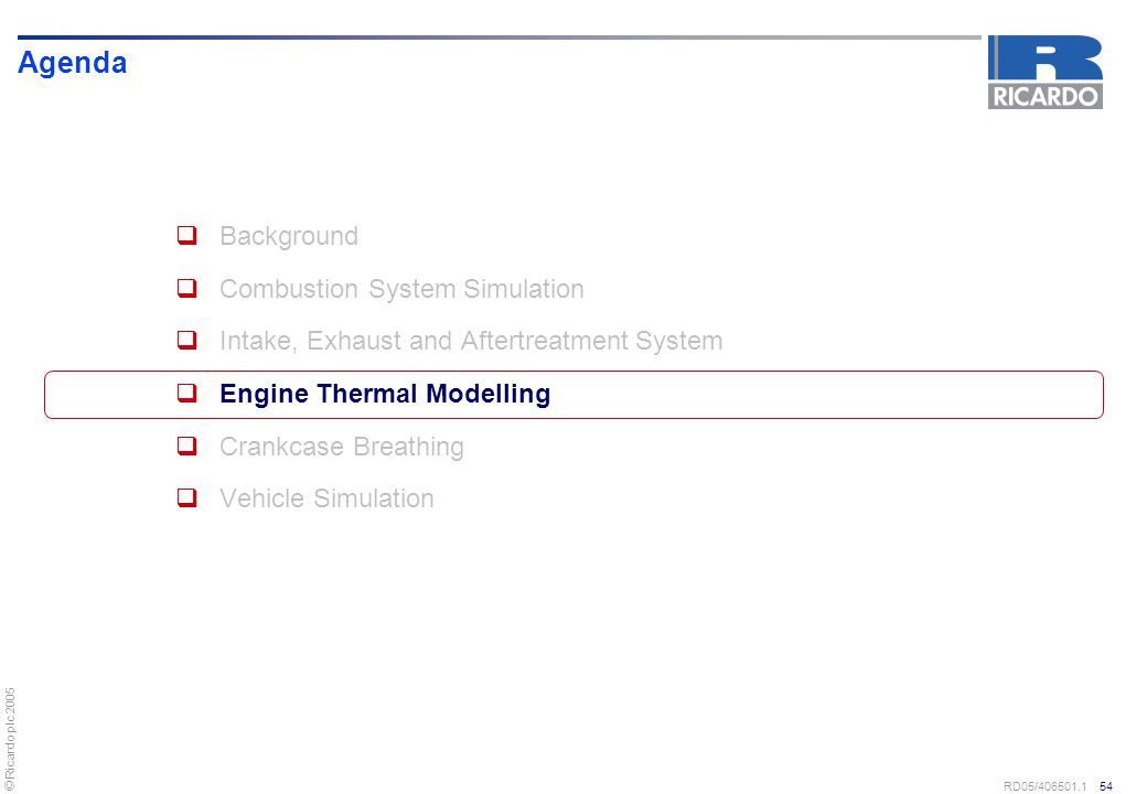 Agenda Background Combustion System Simulation