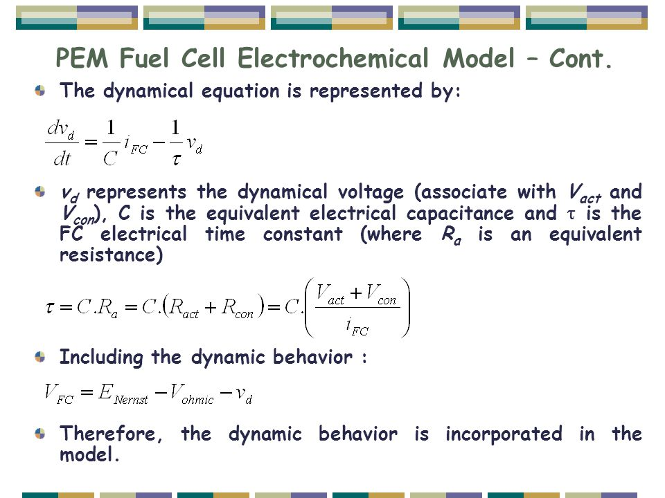 PEM Fuel Cell Electrochemical Model – Cont.