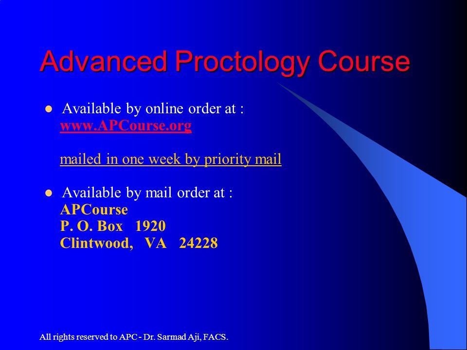 Advanced Proctology Course