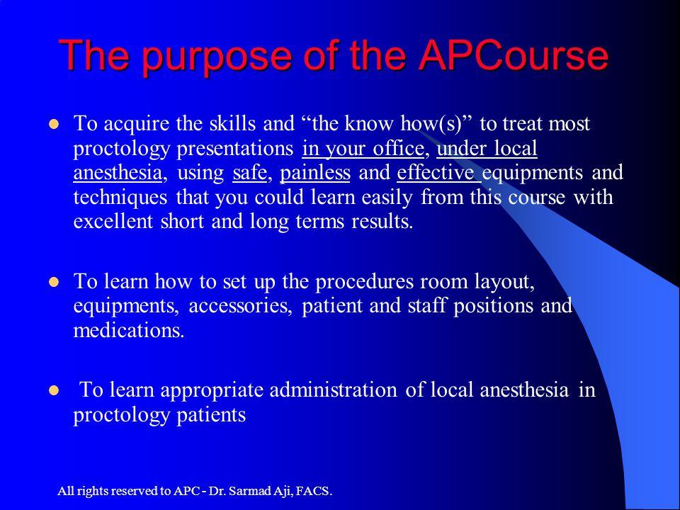 The purpose of the APCourse
