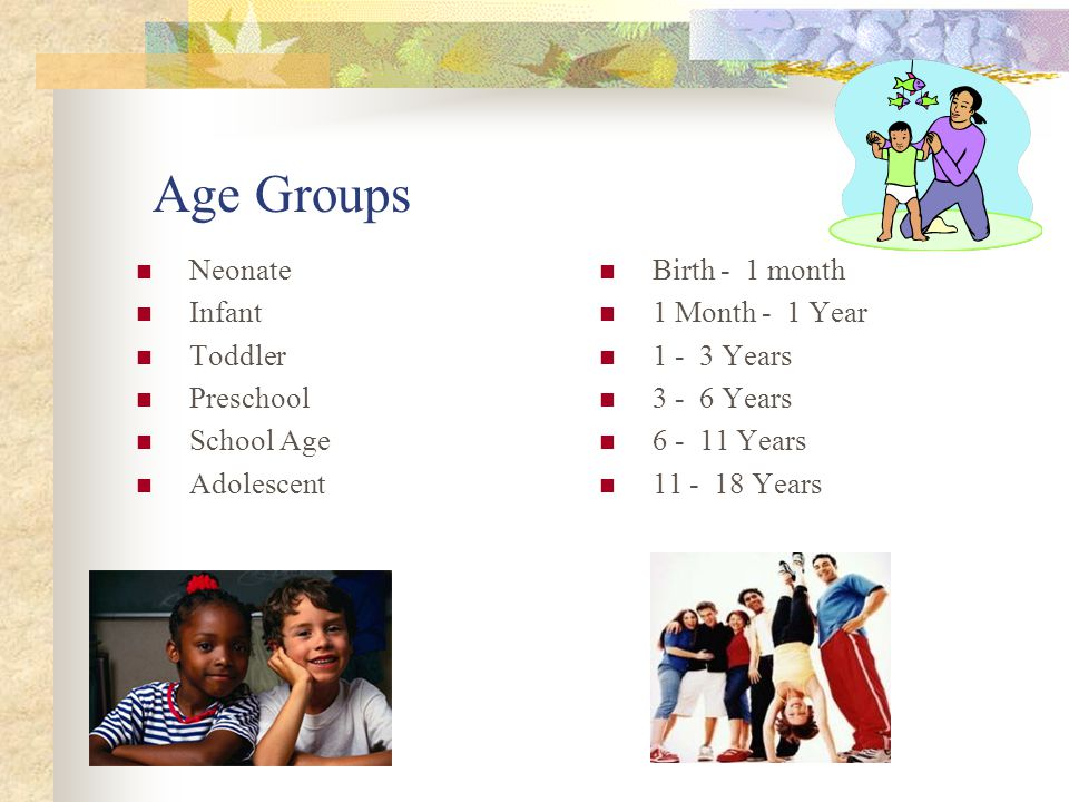 Age Groups Neonate Infant Toddler Preschool School Age Adolescent