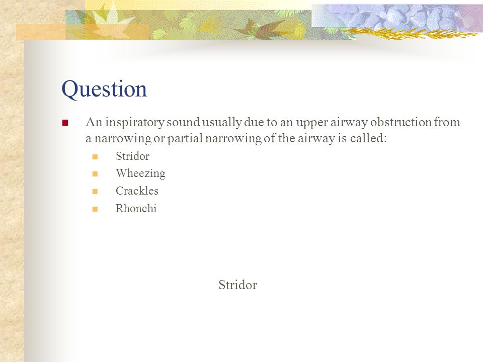 Question An inspiratory sound usually due to an upper airway obstruction from a narrowing or partial narrowing of the airway is called: