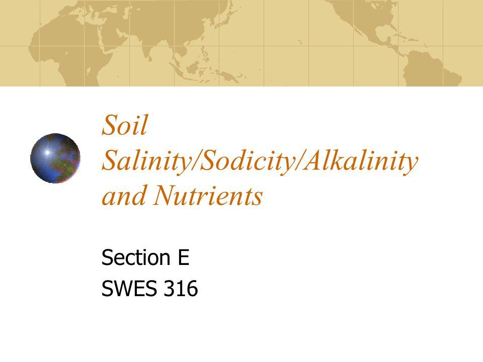 Soil Salinity/Sodicity/Alkalinity and Nutrients