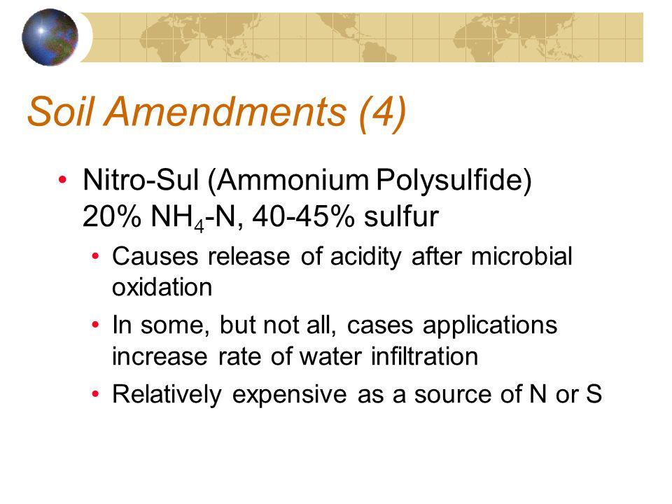 Soil Amendments (4) Nitro-Sul (Ammonium Polysulfide) 20% NH4-N, 40-45% sulfur. Causes release of acidity after microbial oxidation.