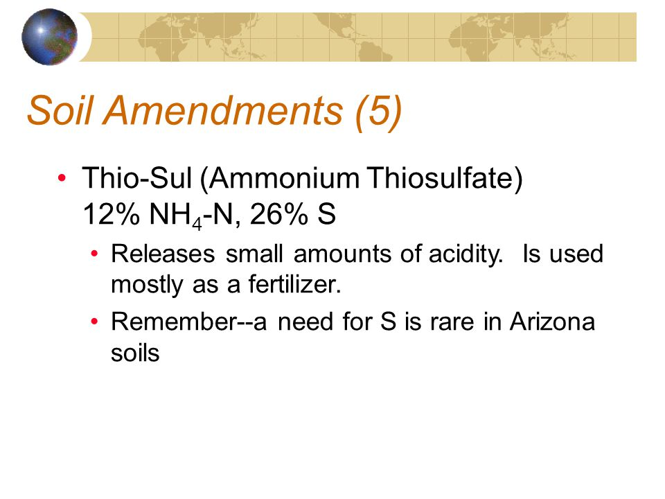 Soil Amendments (5) Thio-Sul (Ammonium Thiosulfate) 12% NH4-N, 26% S
