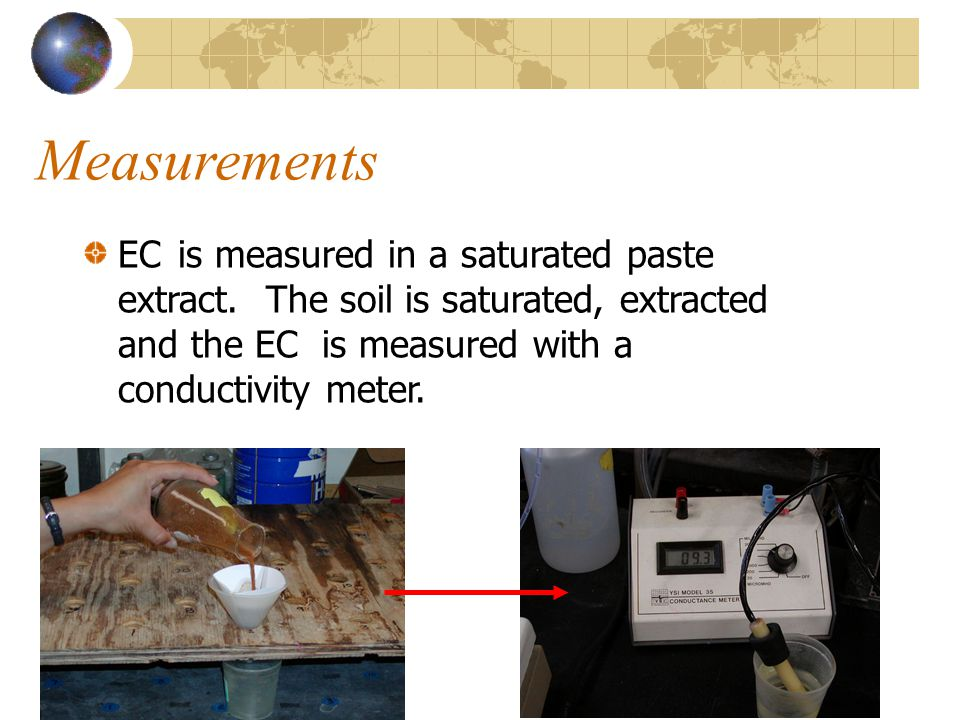 Measurements EC is measured in a saturated paste extract.