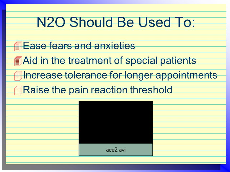 N2O Should Be Used To: Ease fears and anxieties