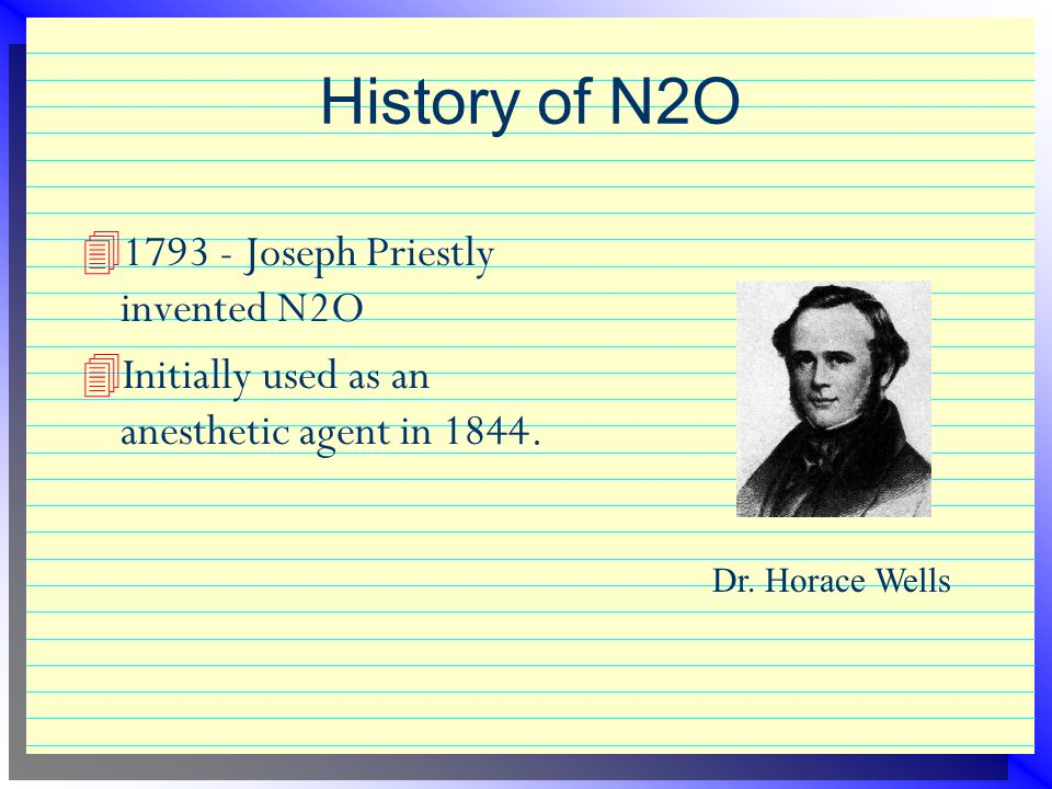 History of N2O 1793 - Joseph Priestly invented N2O