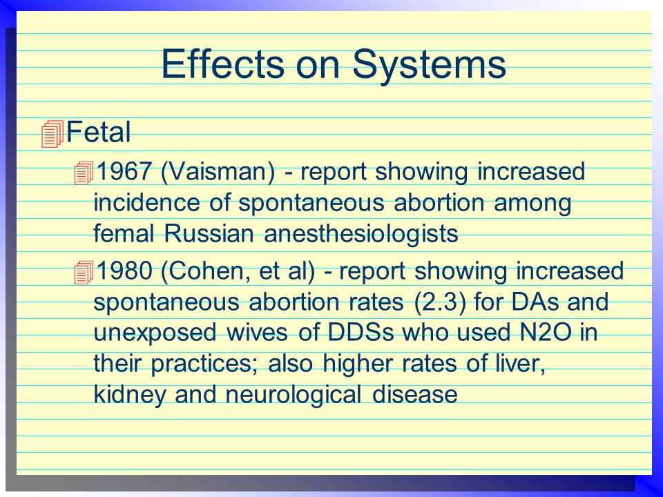 Effects on Systems Fetal