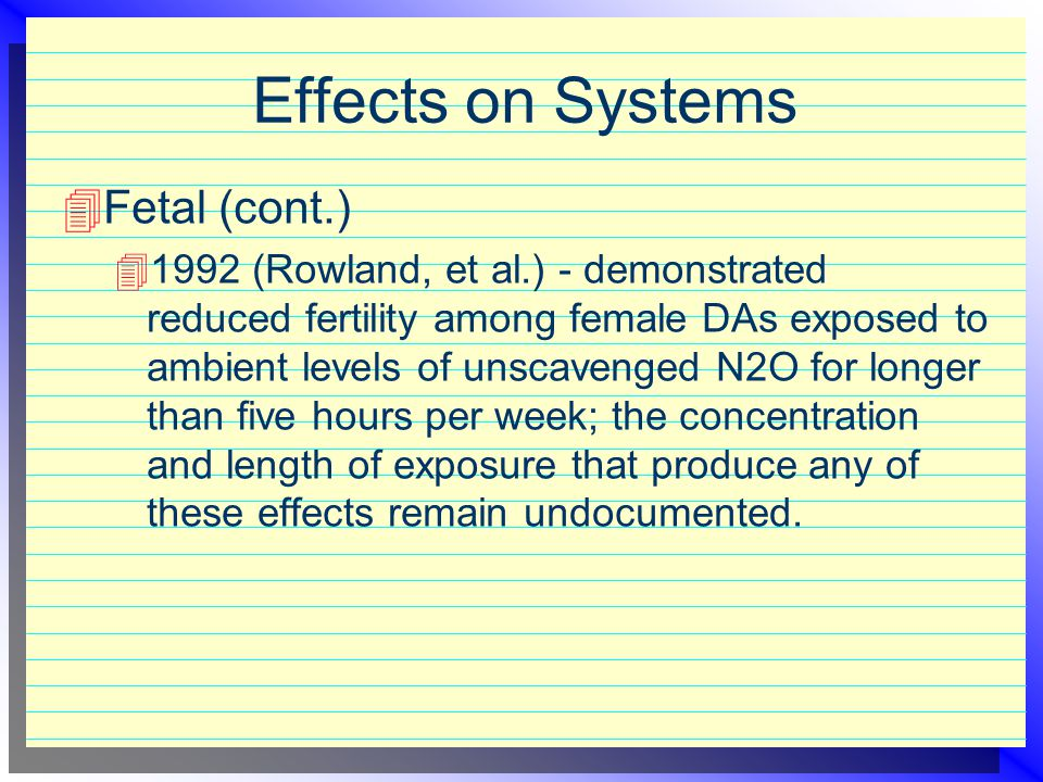 Effects on Systems Fetal (cont.)