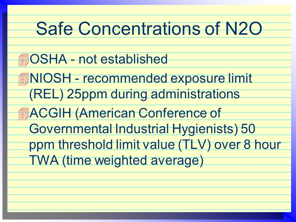 Safe Concentrations of N2O
