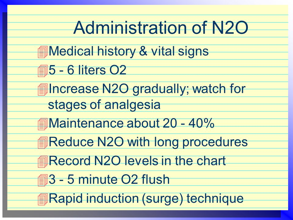 Administration of N2O Medical history & vital signs 5 - 6 liters O2
