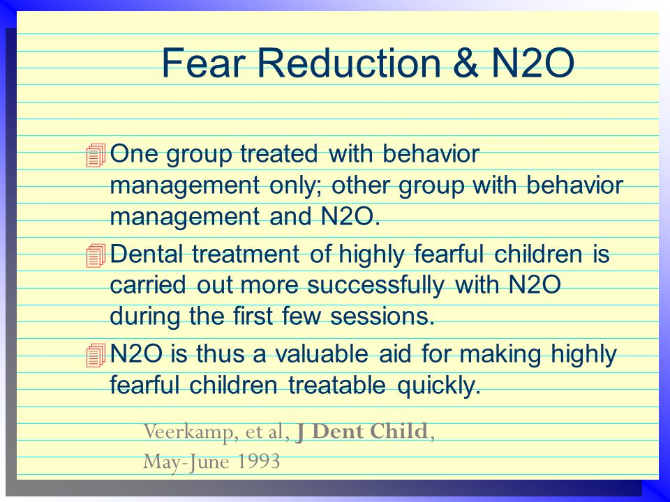 Fear Reduction & N2O One group treated with behavior management only; other group with behavior management and N2O.