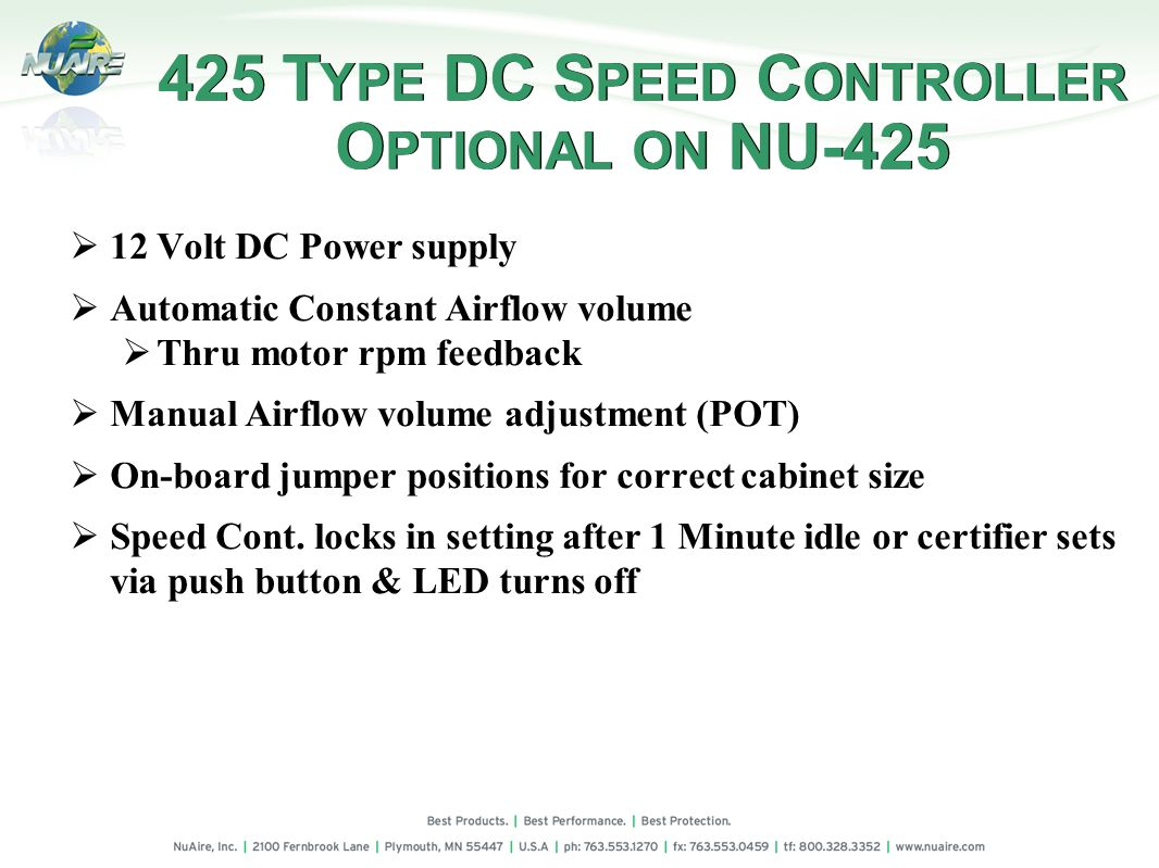 425 TYPE DC SPEED CONTROLLER OPTIONAL ON NU-425