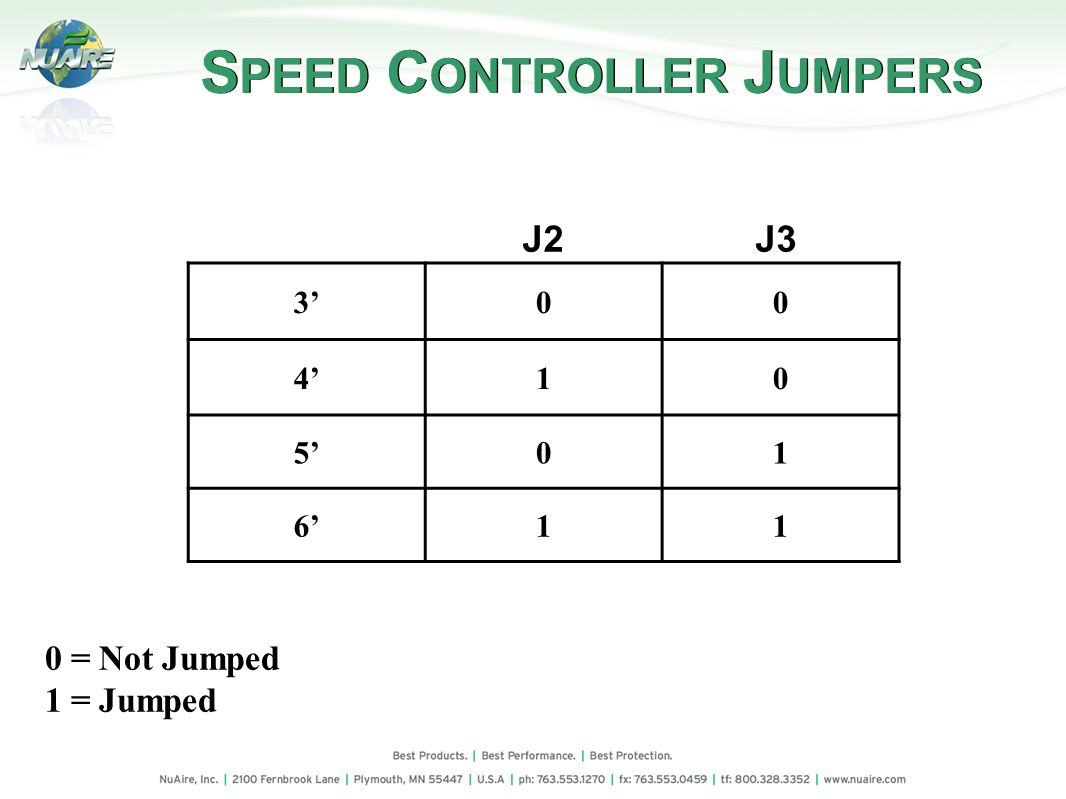 SPEED CONTROLLER JUMPERS