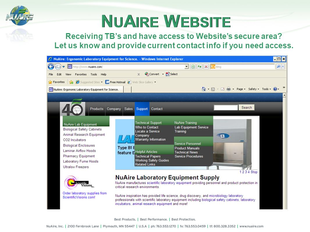 Receiving TB's and have access to Website's secure area