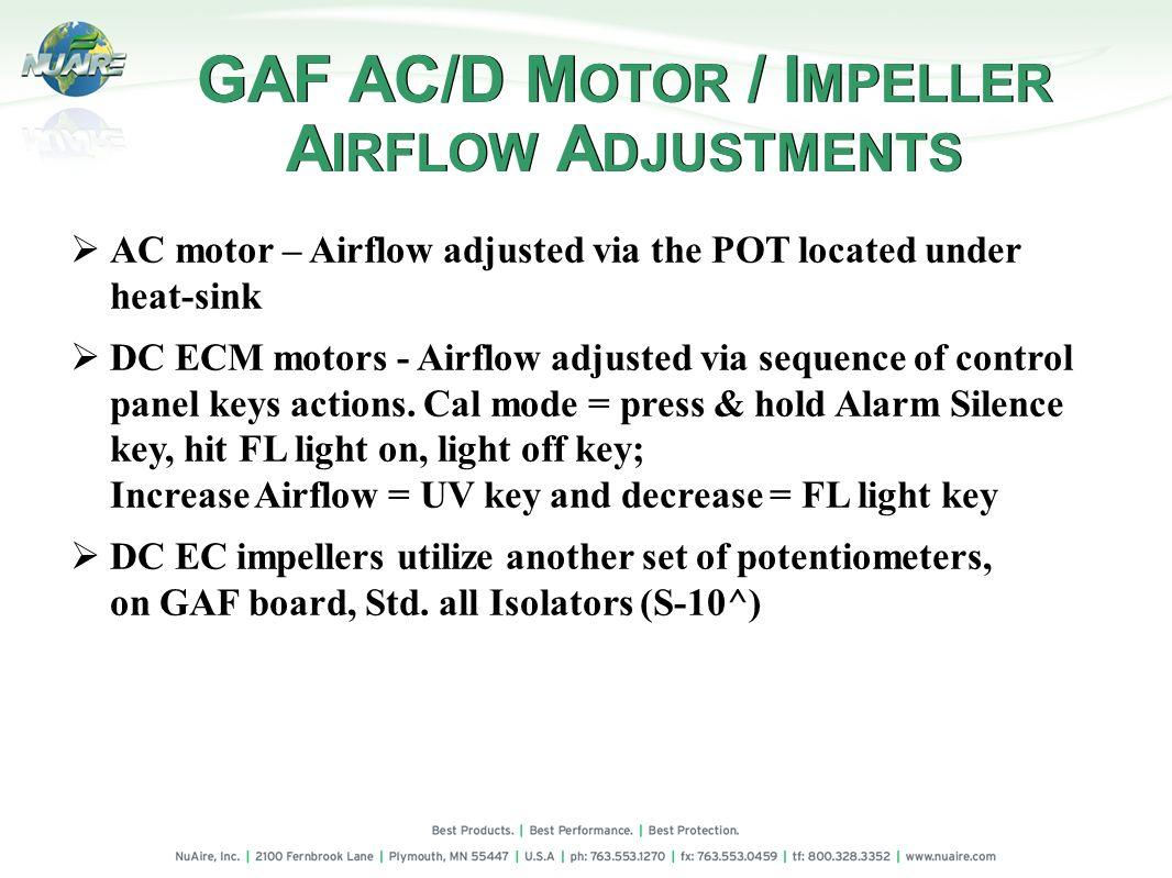 GAF AC/D MOTOR / IMPELLER AIRFLOW ADJUSTMENTS