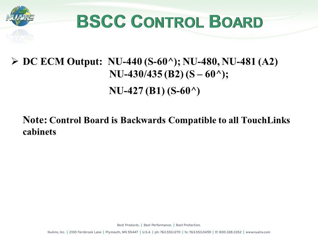 BSCC CONTROL BOARD DC ECM Output: NU-440 (S-60^); NU-480, NU-481 (A2)